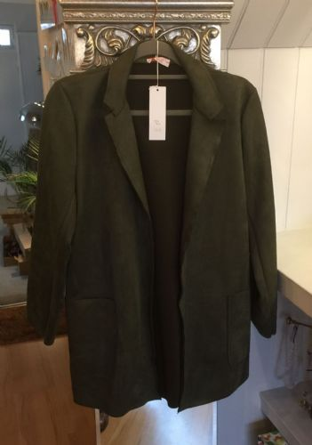 Faux Suede Long Open Jacket - Dark Green